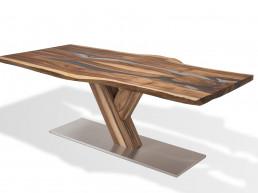Riedinger Moebel Design Tisch durchsichtig Massivholz