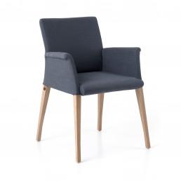 Riedinger Design Moebel Stühle Graublau mit Armauflage